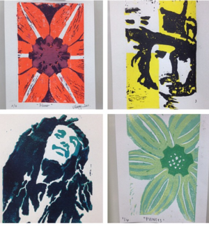 Linoleum Mono Prints