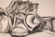 Charcoal Still Life: Boots
