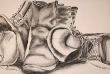 Charcoal Still Life: Boots