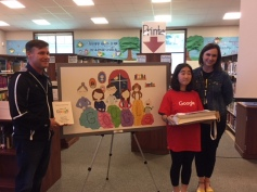 Principal Dave Kravitz, Elaine Park and Art Teacher Kelsey Wengel