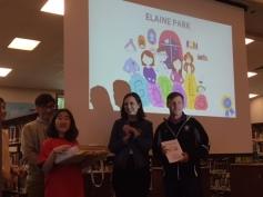 Elaine receiving her awards